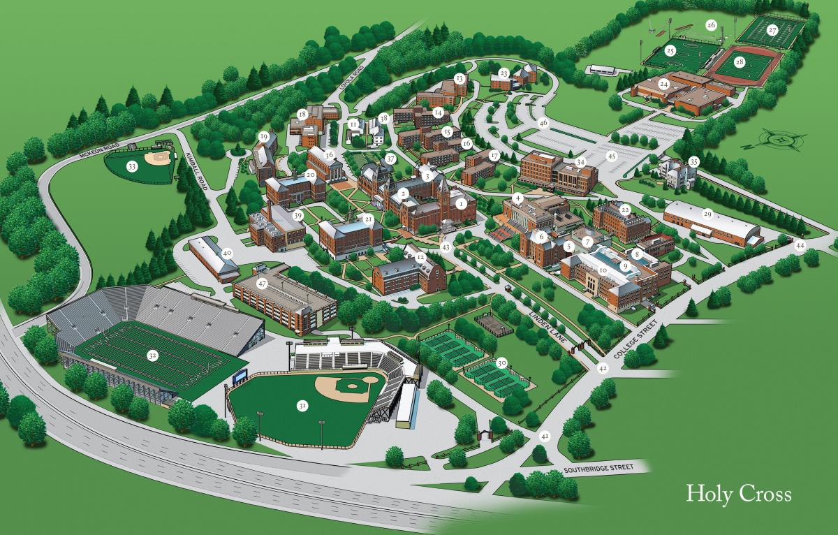 Holy Cross Campus Map Admissions Map (3D) | College of the Holy Cross